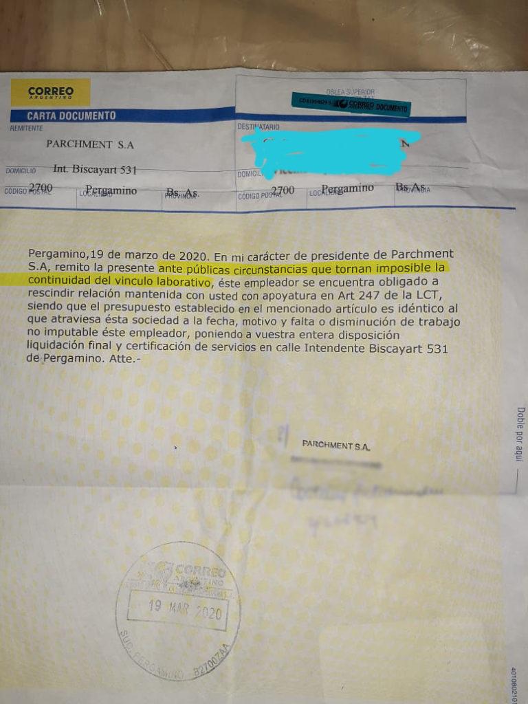 Telegrama de despido enviado por la empresa.